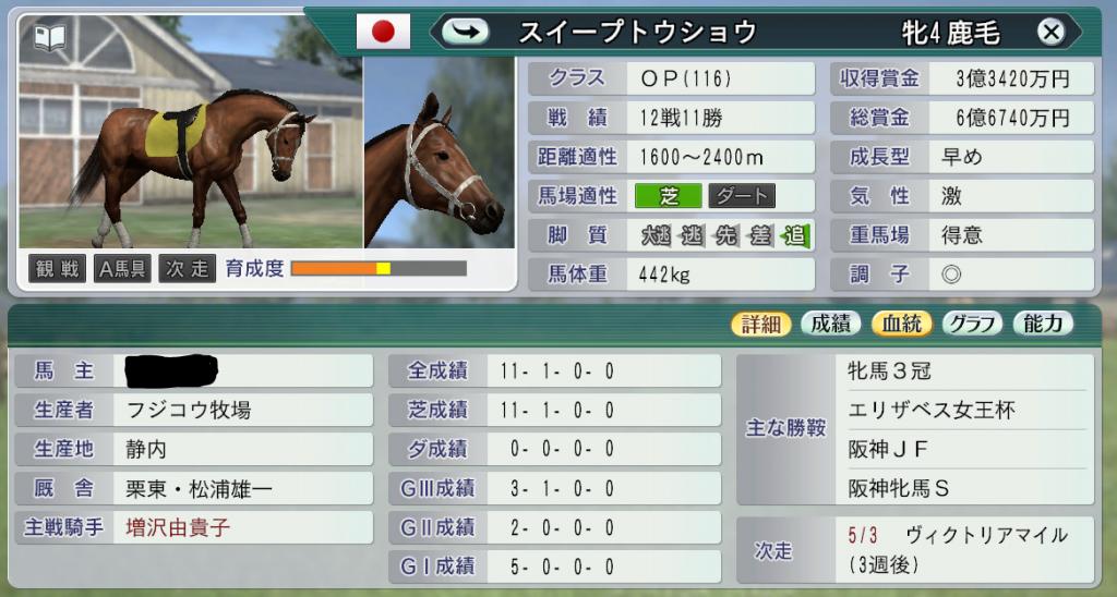 牝馬3冠スイープトウショウ
