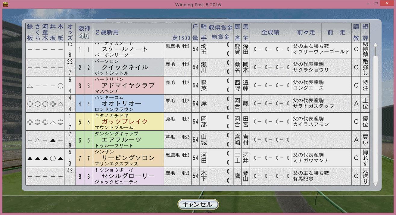 【ウイポ8 2016】初セリ馬初出走