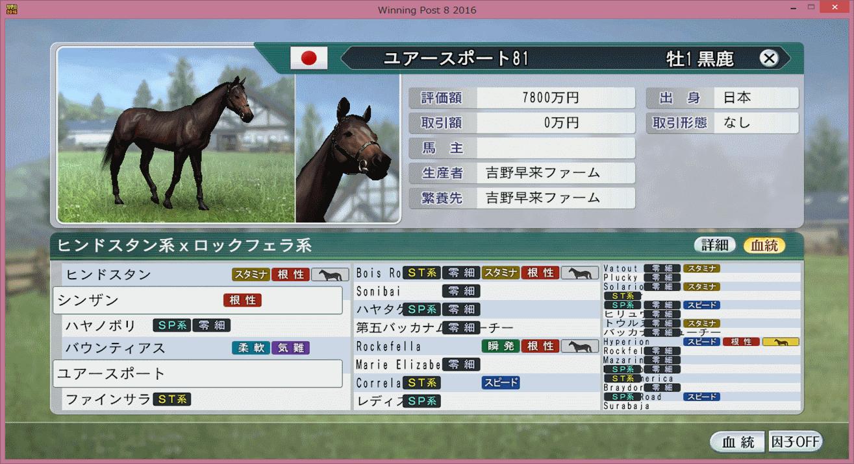 【ウイポ8 2016】1歳馬ゆずってもらった